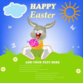 Happy Rabbit with Easter Chocolate Egg.Holiday. Happy Easter.Vector — Stock Vector