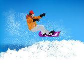 Extreme Snowboard.Mountain skiing — Stock Photo