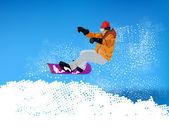 Extreme Snowboard.Mountain skiing.Vector — Stock Vector