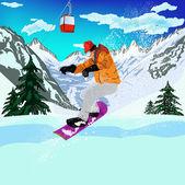 Mountain skiing.Extreme Snowboard.Vector — 图库矢量图片