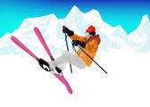 Freestyle Skiing.Mountain skiing.Extreme Skiing.Winter Sport — Stock Photo