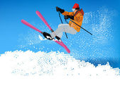 Skiing.Mountain Freestyle Ski. Sport extrême de Skiing.Winter — Photo