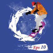 Freestyle Skiing.Mountain skiing.Extreme Skiing.Winter Sport.Vector — 图库矢量图片