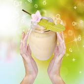 Cream for Skincare Female.Spa — Stock Photo