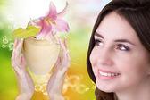 Cream for Skincare face Woman.Salon Spa — ストック写真