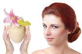 Cream for Skincare face Woman.Salon Spa — Stock Photo
