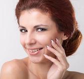 Beauty Portrait. Beautiful Spa Woman Touching her Face. — Stock Photo