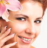 Beauty Portrait.Clean Skin Face. Beautiful Spa Woman — Stock Photo