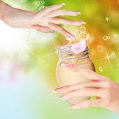 Natural Flower Cream for Woman hands.Spa Salon — Stock Photo