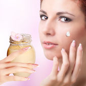 Natural Flowers Balsam for Care Skin Face Woman.Spa — Stock Photo