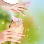Natural Flowers Balsam for Female Hands.Spa — Stock Photo