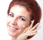 Skin Care Face.Beautiful Spa Portrait Young Woman.Spa Salon.Hygiene Skin Face — Stock Photo