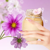 Natural Flower Cream for Woman.Skincare — Stock Photo
