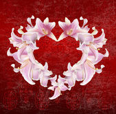 Heart Lily Flower.Wedding Holiday Abstract background — Stock Photo