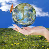 Earth Day.Blue Planet Earth in Woman Hand.Ecology Climate Earth — Stock Photo