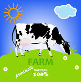 Cow.Natural Dairy Fresh Farm Product.Vector — Vettoriale Stock