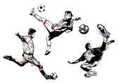 Soccer trio — Stock Vector
