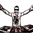 Disc jockey in action — Vector de stock #38365371
