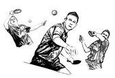Stolní tenis trio — Stock vektor