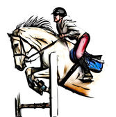 Show jumping illustration — Stock Photo