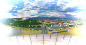 Panoramic view with the Bratislava castle and old town — Stock Photo