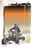 Quad bike poster background — Stock Vector