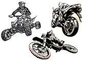 Motorsport trio illsutration — Stok Vektör