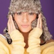 Attractive woman in winter hat — Stock Photo