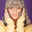 Stock Photo: Attractive woman in winter hat