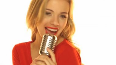 Woman In Red Dresss Holding Microphone — Stock Video