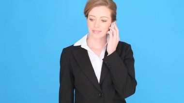 Excited Businesswoman Using Mobile Phone — Stock Video