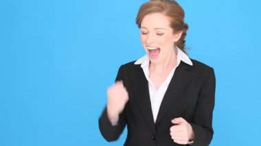 Successful Businesswoman Giving Thumbs Up — Stock Video
