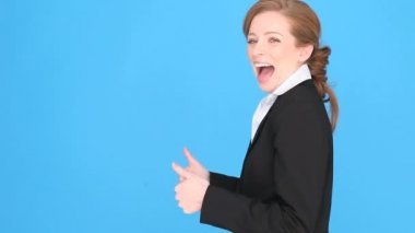 Excited Businesswoman Giving Thumbs Up — Stock Video