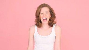 Laughing Woman Having Fun — Stock Video