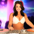 Captivating Busty DJ Mixing Sound Tracks — Stock Video