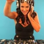 Attractive female DJ mixing music — Stock Video