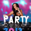 Beautiful female DJ with PARTY 2013 in text — Stock fotografie