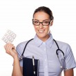 hermoso doctor tabletas de dispensación — Foto de Stock