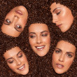 Collage of female facial expressions — Stockfoto