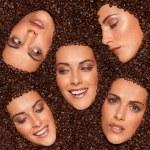 collage de expresiones faciales femeninas — Foto de Stock