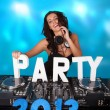 Vivacious DJ with PARTY 2013 in text — Stock Photo