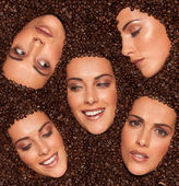 Collage of female facial expressions — Stock Photo