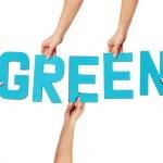 Turquoise alphabet lettering spelling GREEN — Stock Photo