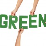 Green alphabet lettering spelling GREEN — Stock Photo
