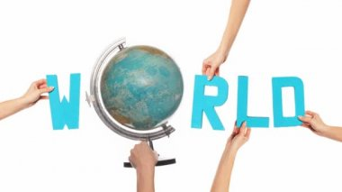 Word WORLD with a spinning globe for the O — Stock Video