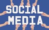 Social Media concept over blue — Stock Photo