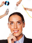 Businesswoman mulling over various solutions — Stock Photo