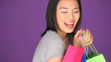 Woman with shopping bags — Stock Video