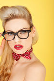 Glamorous retro blonde fashion model — Stock Photo