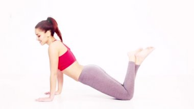 Bitilasana йога поза — Стоковое видео